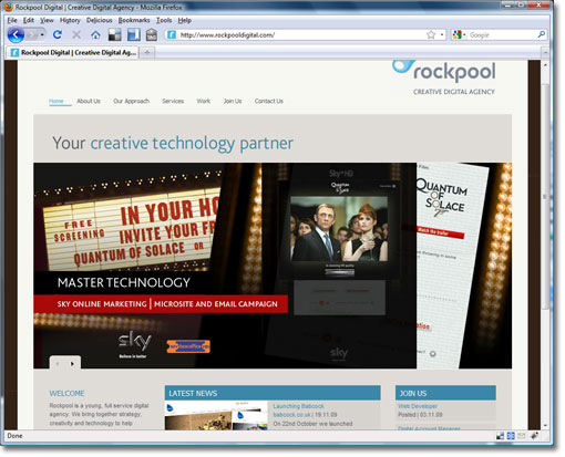 Screengrab of Rockpool website